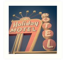 Vintage Motel Sign Square Art Print