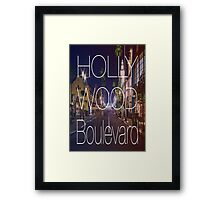 Hollywood boulevard with text & red and blue overlay Framed Print
