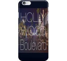 Hollywood boulevard with text & red and blue overlay iPhone Case/Skin