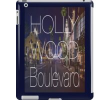 Hollywood boulevard with text & red and blue overlay iPad Case/Skin