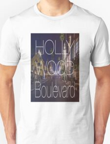 Hollywood boulevard with text & red and blue overlay T-Shirt