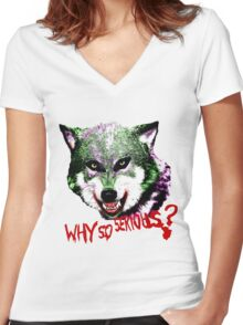 Joker Wolf Women's Fitted V-Neck T-Shirt