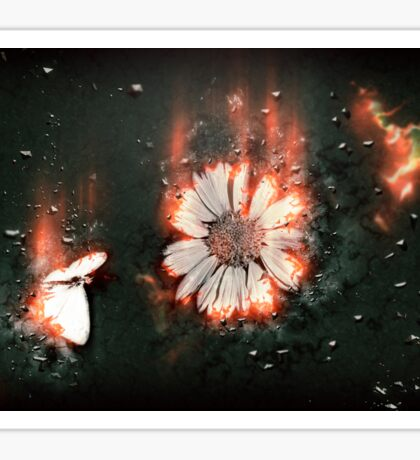 Digitally manipulated image of a white butterfly and yellow flower Sticker