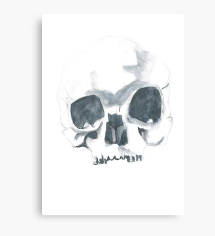 Watercolour skull in dull colours Canvas Print