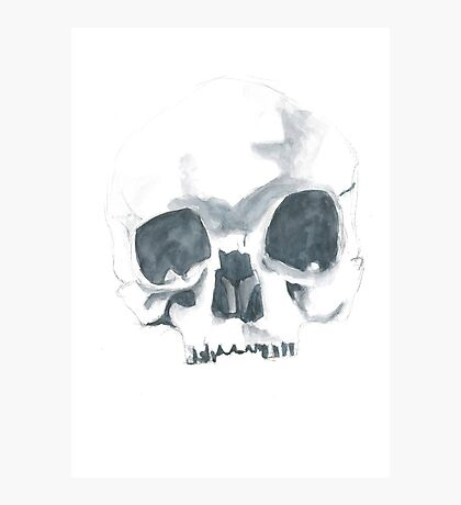 Watercolour skull in dull colours Photographic Print