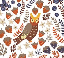 Cute owls and floral elements by sky-lantern