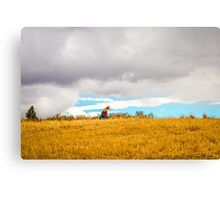 Old Woman Walking On Hill Canvas Print