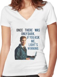 If You Ask Me, Light's Winning - True Detective Women's Fitted V-Neck T-Shirt