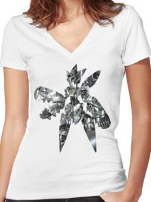 Mega Scizor used Bullet Punch Women's Fitted V-Neck T-Shirt