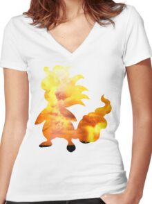 Mega Ampharos used Thunder Women's Fitted V-Neck T-Shirt