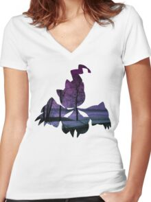 Mega Banette used Night Shade Women's Fitted V-Neck T-Shirt