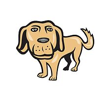 Retriever Dog Big Head Isolated Cartoon by patrimonio