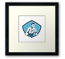 Rugby Player Running Ball Shield Cartoon Framed Print