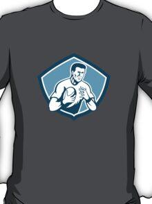 Rugby Player Running Ball Shield Cartoon T-Shirt