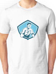 Rugby Player Running Ball Shield Cartoon Unisex T-Shirt