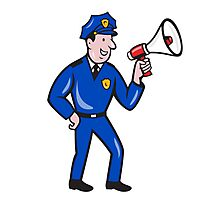 Policeman Shouting Bullhorn Isolated Cartoon Photographic Print
