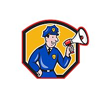 Policeman Shouting Bullhorn Shield Cartoon Photographic Print