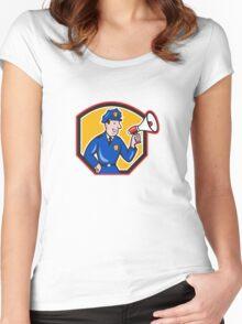 Policeman Shouting Bullhorn Shield Cartoon Women's Fitted Scoop T-Shirt