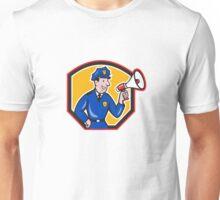Policeman Shouting Bullhorn Shield Cartoon Unisex T-Shirt