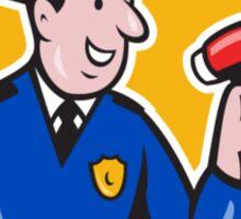 Policeman Shouting Bullhorn Shield Cartoon Sticker
