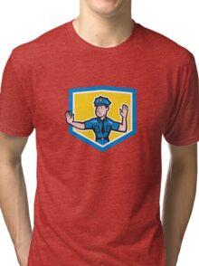Traffic Policeman Stop Hand Signal Shield Cartoon Tri-blend T-Shirt