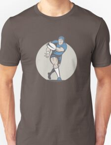 Rugby Player Running Ball Isolated Cartoon Unisex T-Shirt
