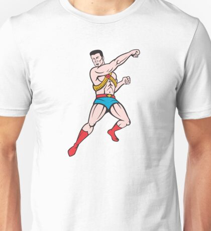 Superhero Punching Cartoon Unisex T-Shirt