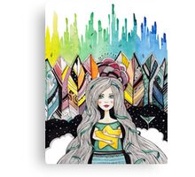 Girl with yellow star Canvas Print