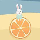 Cute bunny on orange by olarty