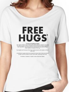 Free Hugs* (Terms and Conditions) (Black Text) Women's Relaxed Fit T-Shirt