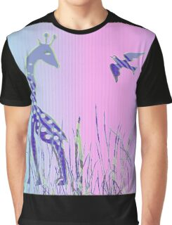 Giraffen mit Vogel -  Giraffe with bird Graphic T-Shirt