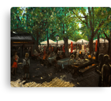 Beer garden at Viktualienmarkt Munich Canvas Print