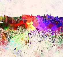Edinburgh skyline in watercolor background by Pablo Romero