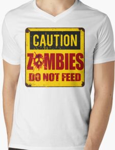 Bloody Zombies Caution Sign Mens V-Neck T-Shirt