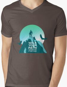 Walk Your Path - Teal Mens V-Neck T-Shirt