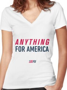 FU '16 - Anything for America Women's Fitted V-Neck T-Shirt