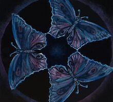 Blue Butterflies Three by Monica Beadles
