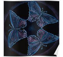 Blue Butterflies Three Poster