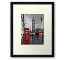 Color Selection of Telephone & Bus in London Framed Print