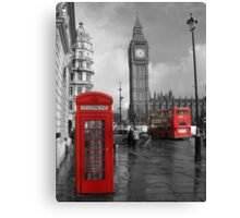 Color Selection of Telephone & Bus in London Canvas Print