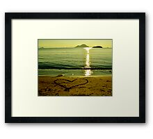 love is in sand Framed Print
