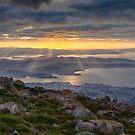 Sunbeams over Hobart, Tasmania by Chris Cobern