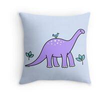 Purple Diplodocus Dinosaur with Bird Throw Pillow