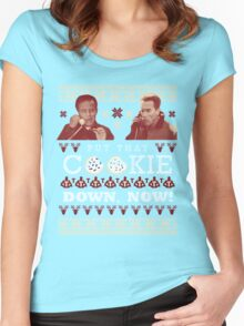 Put That Cookie Down, Now! Ugly Sweater Design Women's Fitted Scoop T-Shirt
