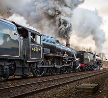 Black Fives Leave Appleby Railway Station by Jan Fialkowski