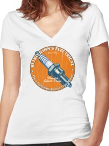 Retro John's Electrical auto and motorcycle spark plugs Women's Fitted V-Neck T-Shirt