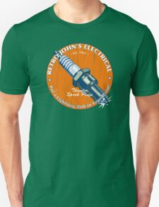 Retro John's Electrical auto and motorcycle spark plugs T-Shirt