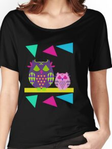 Sleepy Owls and Geometric Patterns Women's Relaxed Fit T-Shirt