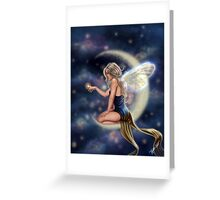 Firefly Moon - Fairy Sitting on Moon Greeting Card