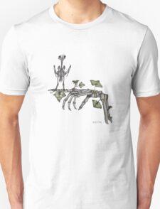 Skeleton bird on skeleton hand T-Shirt